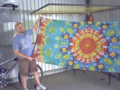 My First Set!I was pretty happy with my first set. We did do a practice tie dye together on scrap but it burnt! Here in Australia our microwaves must be more powerful. We found 3 mins was enough to set the dyes not 7!Check out our first ever Tie Dye, BBQ, and Flagging Day here: http://www.flagmania.org/gallery/v/tiedye0307/